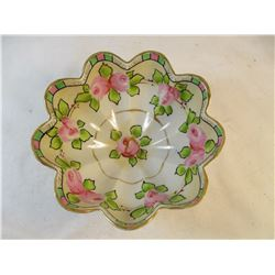 Vintage Hand Painted Footed Nut Dish #1449