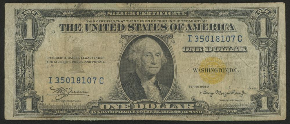 1935-A $1 One Dollar North Africa Gold Seal Silver Certificate Bank Note