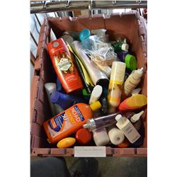 TOTE OF CREAMS AND SHAMPOO ETC