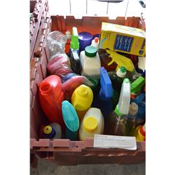 TOTE OF CLEANING SUPPLIES