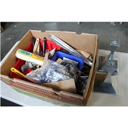 BOX OF PAINT SUPPLIES CANDLESTANDS AND RAZORS