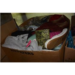 BOX OF WOMENS CLOTHES AND SHOES
