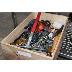 WOOD CRATE OF TOOLS