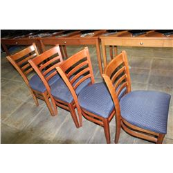 FOUR MODERN NAVY SEAT DINING CHAIRS
