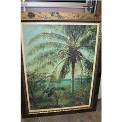 LARGE FRAMED TROPICAL PRINT