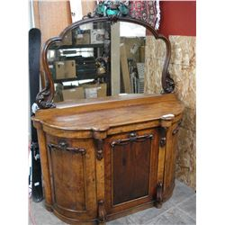 VINTAGE BOWFRONT DRESSER WITH MIRROR