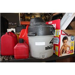 LOT OF GAS CANS AND SHOP VAC