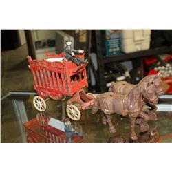 VINTAGE CAST IRON HORSE DRAWN CIRCUS CARRIAGE