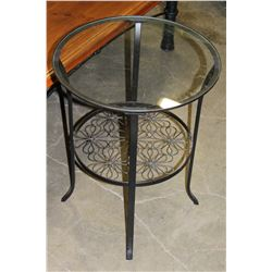 ROUND BLACK METAL GLASSTOP ENDTABLE