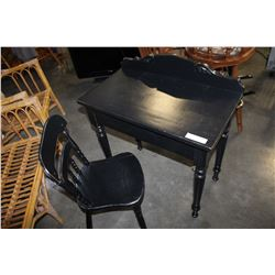 BLACK PAINTED DESK AND CHAIR