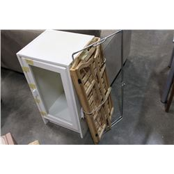 WOOD FOLDING SHELF AND WHITE GLASS DOOR CABINET