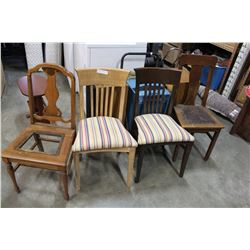 4 ASSORTED VINTAGE DINING CHAIRS