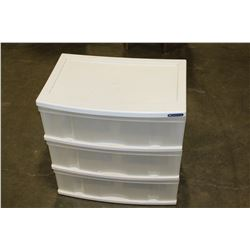 THREE DRAWER PLASTIC ORGANIZER