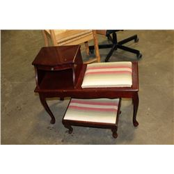 MAHOGANY FINSIH TELEPHONE STAND WITH BENCH