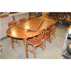 KRUG MAPLE DINING TABLE WITH 4 LEAFS AND 6 CHAIRS