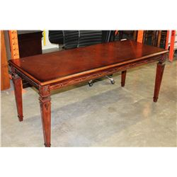 NEW CUSTOM CARVED MAHOGANY DESK DINING TABLE