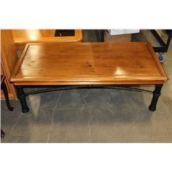 METAL BASE OAK COFFEE TABLE