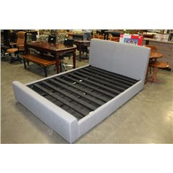 AS NEW QUEENSIZE GREY MODERN PLATFORM BEDFRAME WITH HYDARAULIC LIFT FOR UNDER STORAGE RETAIL $1899