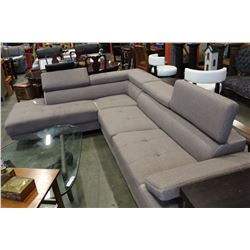 AS NEW MODERN 2 PIECE SECTIONAL SOFA WITH ADJUSTABLE HEAD AND ARM RESTS