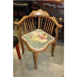 VINTAGE CROSS STICH SEAT CORNER CHAIR