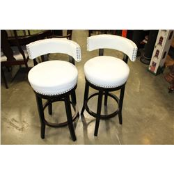 NEW PAIR HOME ELEGANCE WHITE LEATHER STUDDED BAR HEIGHT SWIVEL BAR STOOLS RETAIL $249 EACH