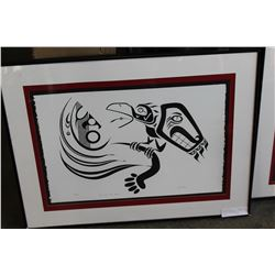 LIMITED EDITION PIED FIRST NATIONS PRINT CALL OF THE RAVEN