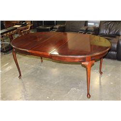 MAHOGANY FINISH DINING TABLE WITH LEAF AND 4 CHAIRS