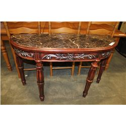 NEW DECORATIVE CARVED MAHOGANY FAUX MARBLE TOP SOFA TABLE