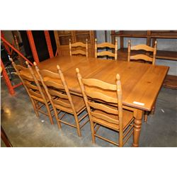 PINE TABLE WITH LEAF AND SIX PINE LADDER BACK CHAIRS