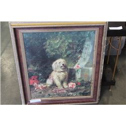 OIL PAINTING OF DOG ON CANVAS