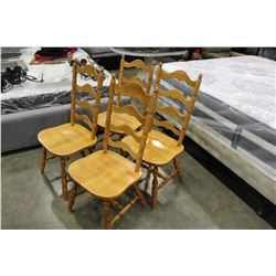 FOUR LADDER BACK MAPLE DINING CHAIRS