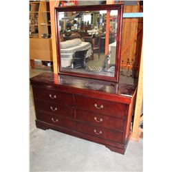 NEW CHERRY FINISH AVENZA 6 DRAWER DRESSER WITH MIRROR, RETAIL $899