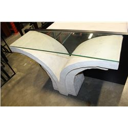 STONE LOOK GLASS TOP SOFA TABLE
