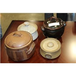 FOUR COVERED POTTERY CASSEROLE POTS