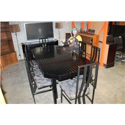 LARGE BLACK DINING TABLE WITH 8 CHAIRS