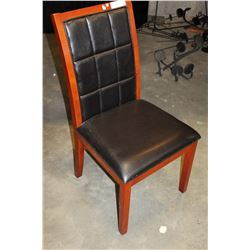 FLOOR MODEL LEATHER STITCHED BACK MODERN DINING CHAIR