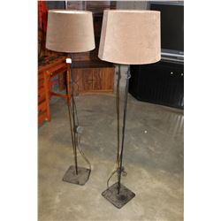 PAIR OF 58 INCH METAL BASE FLOOR LAMPS