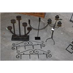 THREE IRON CANDLESTANDS AND TWO IRON WALL HOOKS