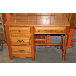BROYHILL OAK SINGLE PEDASTEL DESK