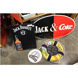 JACK AND COKE SIGN, METAL JACK DANIELS SIGN, AND BRIDGE BREWING LO SIGN