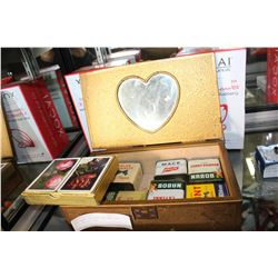 ANTIQUE DRESSER BOX AND SIX OLD SPICE TINS