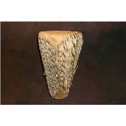 "Wood and Rawhide Drum- Hair On- 10.5""H X 6""W"