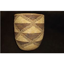 "Salish Cylinder Basket- Geometric Pattern- 8.5""H X7.25"" W"