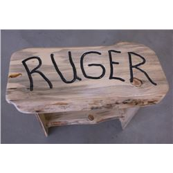 "Hand Made Blue Pine Bench- Ruger Carved on Top- 20"" T X 30"" W X 16"" D"