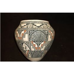Iona Chino Acoma Pot- From Famous Family of Acoma Potters- Central Theme of Kokopelli and Rain
