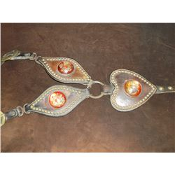 Old Choker Heart Breast Collar- Dotted- 3 Old Rosettes- 1 Rosette is Damaged- X Marked Buckles