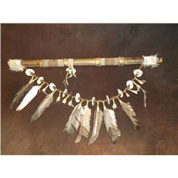 Rawhide Wrapped and Beaded Flute- Antler Buttons- Feathers- Shell Cases- 20""