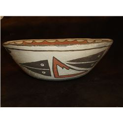 "Zia Dough Bowl- C. 1920- Hand Painted- 4.5""H X 11.5""W"