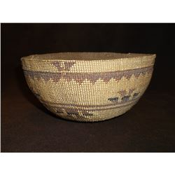 "Northern California Hupa Basket- Willow and Pine Needle- C. 1900- 3.25""H X 7.25""W- Letter of Authent"