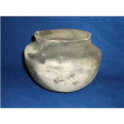Hand Coiled Pottery Jar- Southern Tribe- Crude Craftmanship With Smoke Clouds Present Throughout